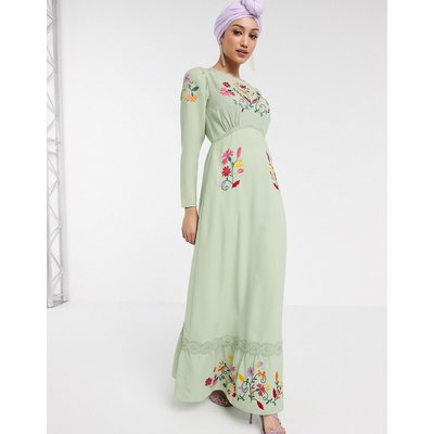 ASOS DESIGN embroidered maxi tea dress with long sleeves in sage green