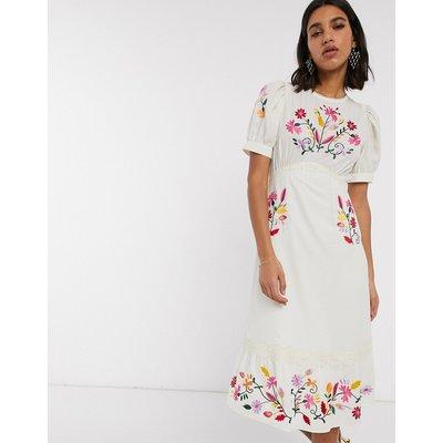 ASOS DESIGN embroidered midi tea dress in cream
