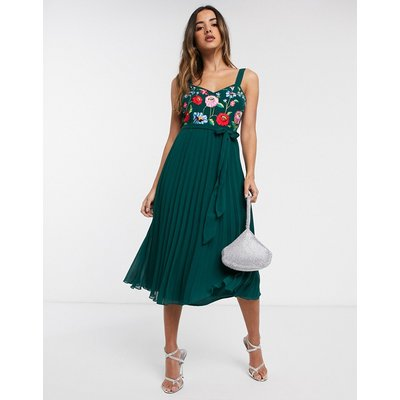 ASOS DESIGN embroidered pleated cami midi dress-Green