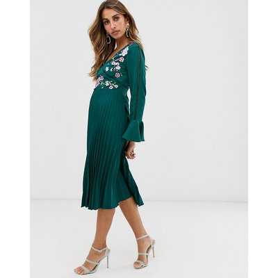 ASOS DESIGN embroidered pleated midi dress with lace inserts-Green