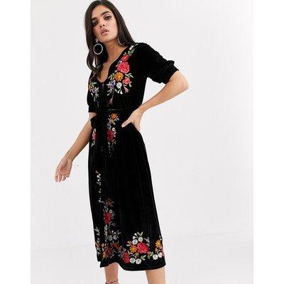 ASOS DESIGN embroidered velvet midi tea dress-Black