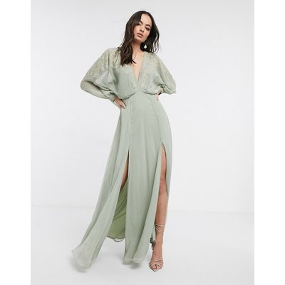 ASOS DESIGN embroidered yoke crinkle chiffon maxi dress-Green