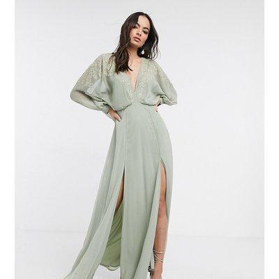 ASOS DESIGN embroidered yoke crinkle chiffon maxi dress-Green