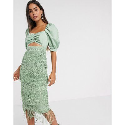 ASOS DESIGN fringe lace midi dress with structured bodice in sage-Green