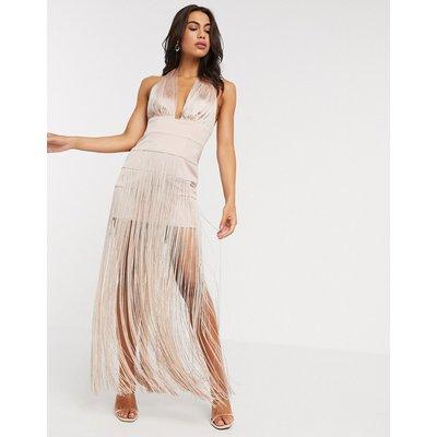 ASOS DESIGN halter fringe maxi dress-Pink