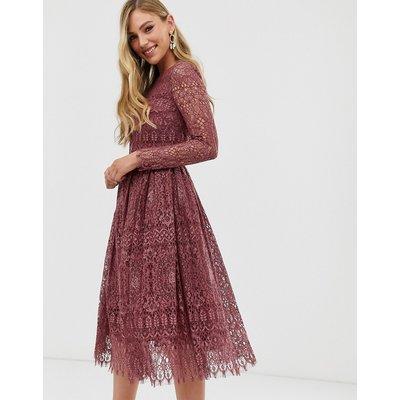 ASOS DESIGN lace long sleeve midi prom dress-Purple