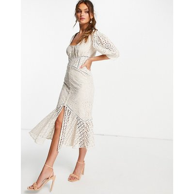 ASOS DESIGN Lace tea dress with puff sleeve-White