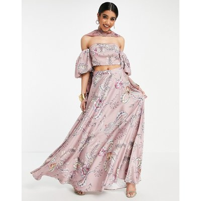 ASOS DESIGN Lehenga full maxi skirt in pink modern paisley print