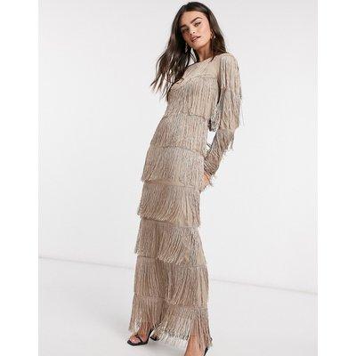 ASOS DESIGN long sleeve fringe column maxi dress in stone-Cream