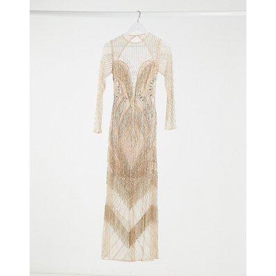 ASOS DESIGN long sleeve fringe embellished maxi dress with open back in pink