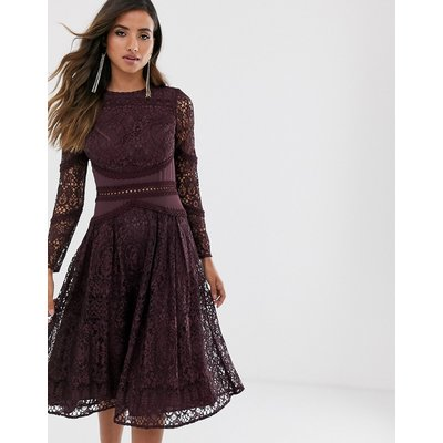 ASOS DESIGN long sleeve prom dress in lace with circle trim details-Purple