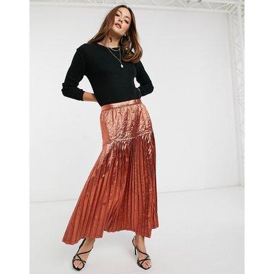 ASOS DESIGN metallic pleated maxi skirt-Pink