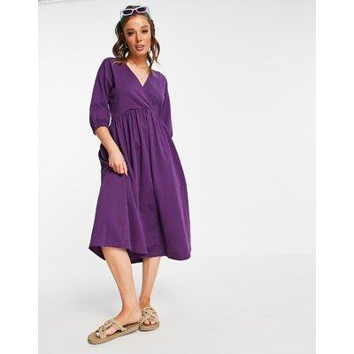 ASOS DESIGN midi smock dress with wrap top in aubergine-Purple