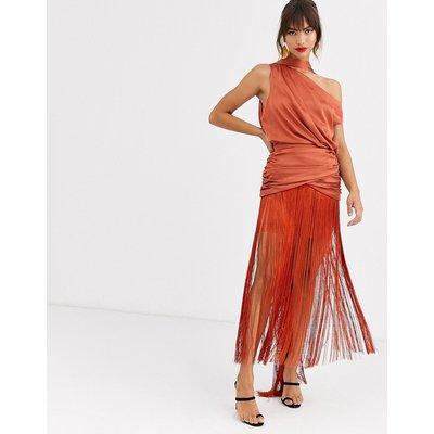 ASOS DESIGN one shoulder fringe maxi dress with satin top-Brown