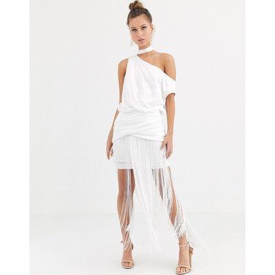 ASOS DESIGN one shoulder fringe maxi dress with satin top-White