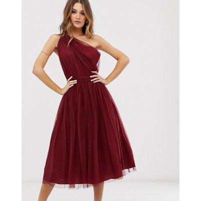 ASOS DESIGN one shoulder tulle midi dress-Red