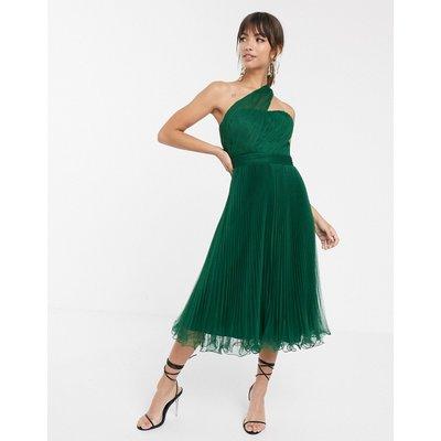 ASOS DESIGN one shoulder tulle wired hem midi dress-Green