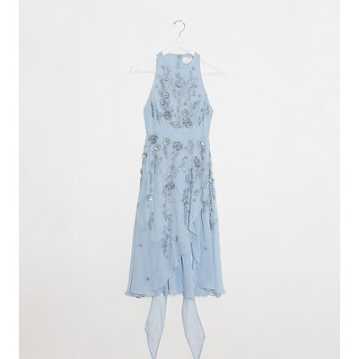 ASOS DESIGN Petite 3D delicate floral embellished midi dress with wrap waist and soft layered skirt in Blue