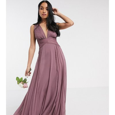 ASOS DESIGN Petite Bridesmaid ruched bodice drape maxi dress with wrap waist-Purple
