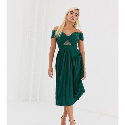 ASOS DESIGN Petite lace and pleat bardot midi dress-Green