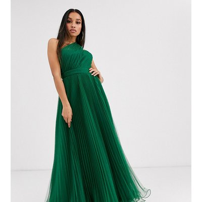 ASOS DESIGN Petite one shoulder tulle maxi dress in forest green