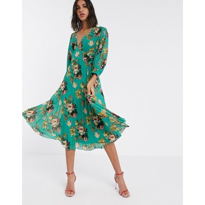 ASOS DESIGN pleated batwing midi dress in green floral-Multi