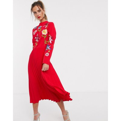 ASOS DESIGN pleated embroidered midi dress in red