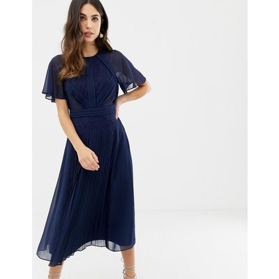 ASOS DESIGN pleated panelled flutter sleeve midi dress with lace inserts-Navy