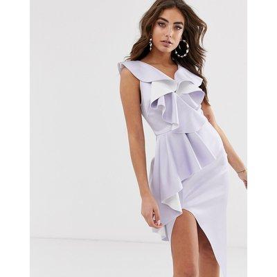 ASOS DESIGN plunge ruffle midi dress with waterfall skirt-Purple