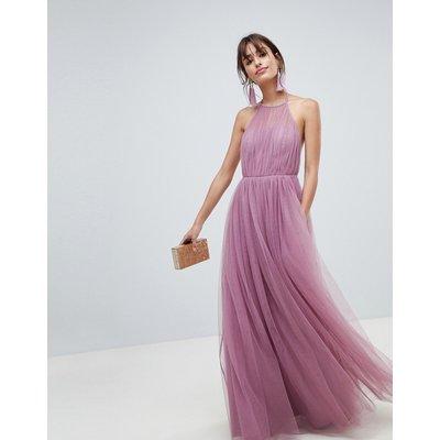 ASOS DESIGN premium halter tulle maxi dress-Purple