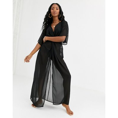 ASOS DESIGN recycled chiffon beach maxi dress with twist front-Black