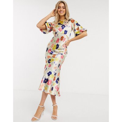 ASOS DESIGN satin maxi tea dress with lace inserts in floral print-Multi