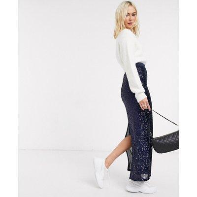 ASOS DESIGN sequin pencil maxi skirt in blue-Multi