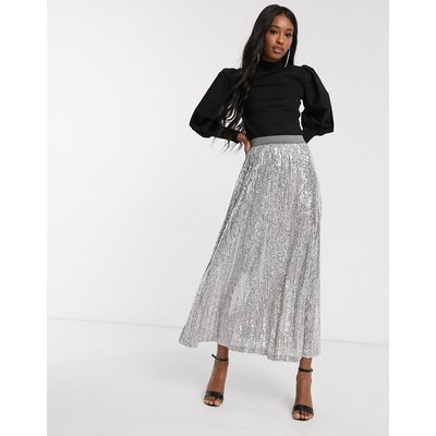 ASOS DESIGN sequin pleated maxi skirt in grey-Silver