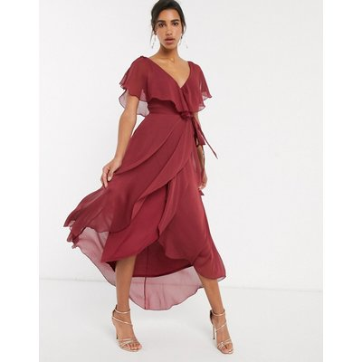 ASOS DESIGN split sleeve cape back dipped hem maxi dress with tie shoulder-Red