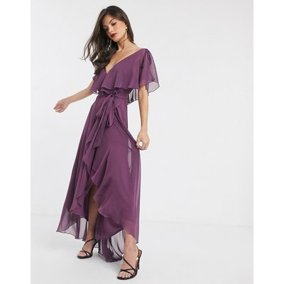 ASOS DESIGN split sleeve cape back dipped hem maxi dress with tie shoulder-Purple