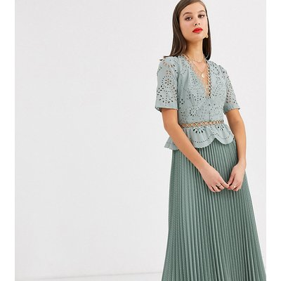 ASOS DESIGN Tall broderie button front pleated midi tea dress-Green