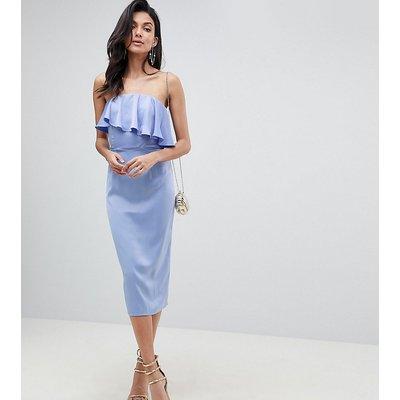 ASOS DESIGN Tall soft bandeau crop top pencil dress-Purple