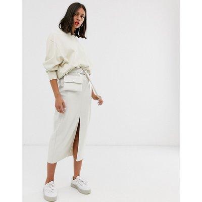 ASOS DESIGN vinyl pencil skirt with belt bag-Cream