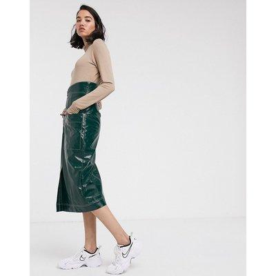 ASOS DESIGN vinyl pencil skirt with contrast stitch detail-Green