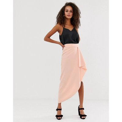 ASOS DESIGN waterfall wrap pencil skirt-Pink