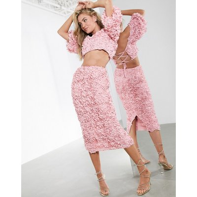 ASOS EDITION 3D floral organza pencil skirt co-ord-Pink