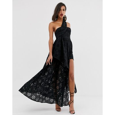 ASOS EDITION broderie dress with maxi skirt overlay-Black