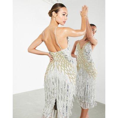 ASOS EDITION crystal fringe cami midi dress in silver