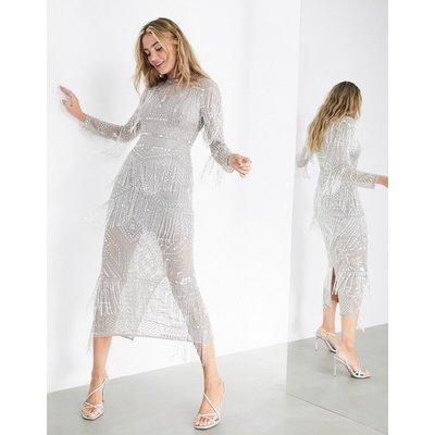 ASOS EDITION crystal fringe midi dress-Grey