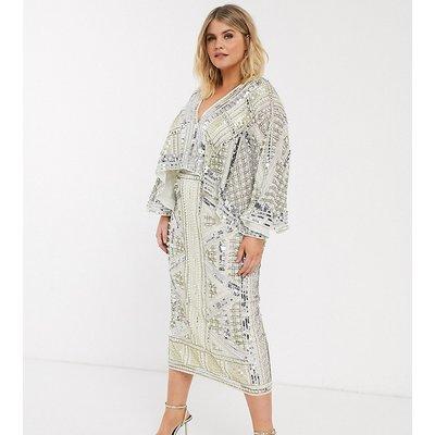 ASOS EDITION Curve cape sleeve armour midi dress-White