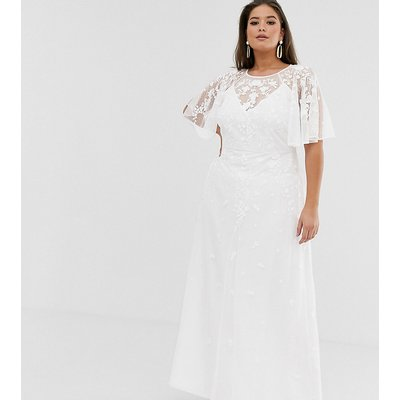 ASOS EDITION Curve embroidered flutter sleeve maxi wedding dress-White