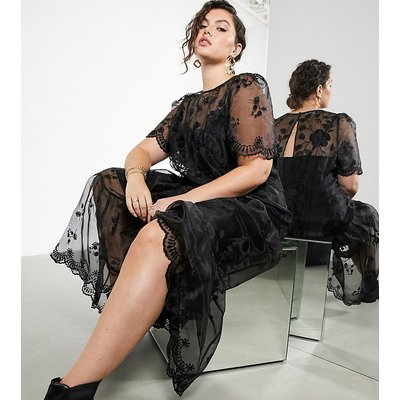 ASOS EDITION Curve embroidered organza smock dress in black