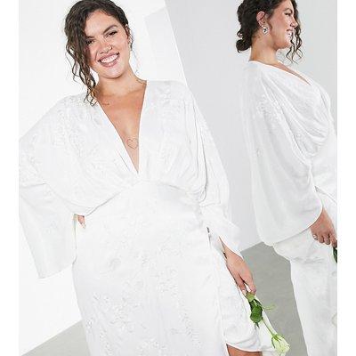 ASOS EDITION Curve embroidered satin kimono wedding dress-White