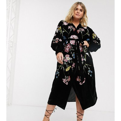 ASOS EDITION Curve embroidered velvet wrap midi dress-Black